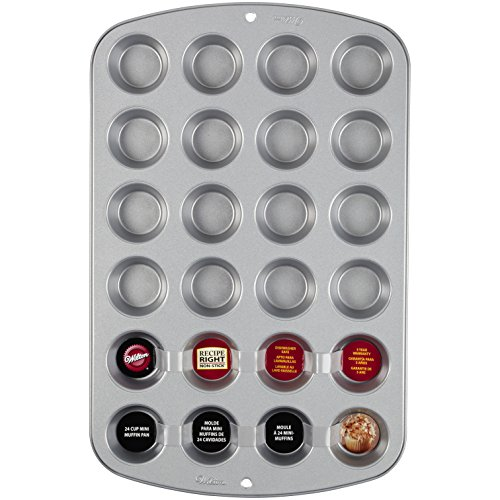 Wilton 2105-914 Recipe Right 24 Cup Mini Muffin Pan Backform, Aluminium, silber, 40 x 25 x 2 cm