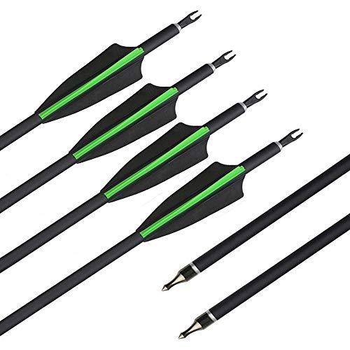 SHARROW 12x Carbonpfeile 30.5 Zoll Bogenpfeile Jagd Pfeile für Bogen Spine 500 für Recurvebogen Compound Bogen (Grün)
