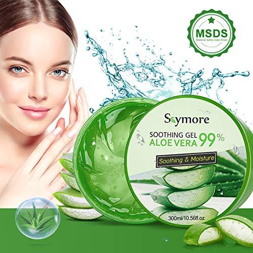 Skymore 330ml Aloe Vera Gel, Natürliche Aloe Vera Creme für trockene Haut, After sun gel, Sonnenbrand Reparieren, Beruhigende und Pflegende, Natürliche Feuchtigkeitspflege für Gesicht, Körper und Haar