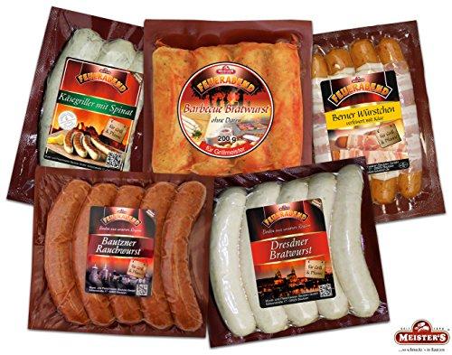 Sonderangebot Grillpaket, Dresdner Bratwurst, Käsegriller, Rauchwurst für Grill & Pfanne Debrecziner Art, Berner Würstchen mit Käse Emmentaler & Bacon