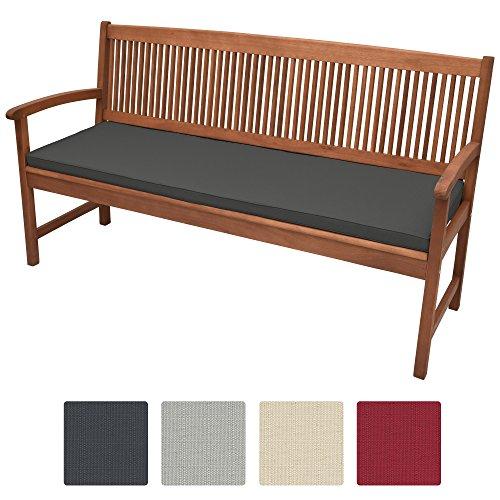 Beautissu Bankauflage Base BK ca. 180x48x5 cm bequeme Polster für Garten-Bank mit abnehmbarem Bezug in Graphit-Grau