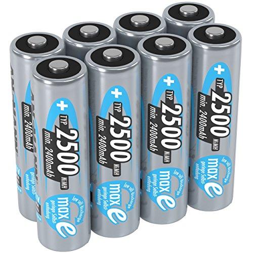 ANSMANN Mignon AA Akku 1,2V Typ 2500 mAh - NiMH AA Akkus mit maxE für Geräte mit hohem Stromverbrauch - 1000 mal wiederaufladbare Batterien AA für Spielzeug Taschenlampe & Controller uvm - 8 Stück