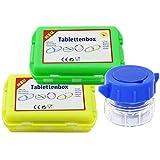 com-four 2 Tablettenboxen 10 Fächer in 2 versch. Farben mit weißer Schrift + 1x Tablettencrusher (02 Stück - grün/gelb)