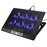 Laptop Kühler, 12-17 Zoll Gaming Laptop Kühler Tragbare Ultra-Slim 6 Große Ruhige Fans Laptop Kühlung Pad, 2 USB Einstellbare Halterungen Laptop Stand Höhenwinkel, Starke Windgeschwindigkeit