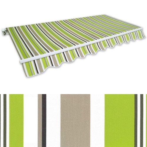 Gelenkarm-Markise 4 x 2,5 m grün-braun (Profilfarbe: Weiß) Sonnenschutz Alu Markise Schattenspender Sonnensegel
