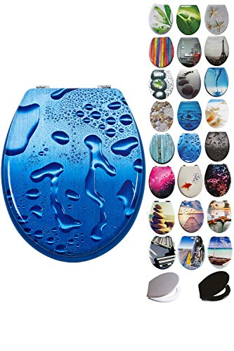 Grafner MDF WC Sitz mit Absenkautomatik viele schöne Motive zur Auswahl - stabile Qualität - einfache Monatge WC Deckel Klobrille Softcolse (Blue Droplets)
