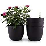 ComSaf Selbstwässernder Blumentopf Pflanzgefäß Übertopf mit ERD-Bewässerungs-System Schwarz 18,5 * 16cm Kunststoff Rund 4er-Set