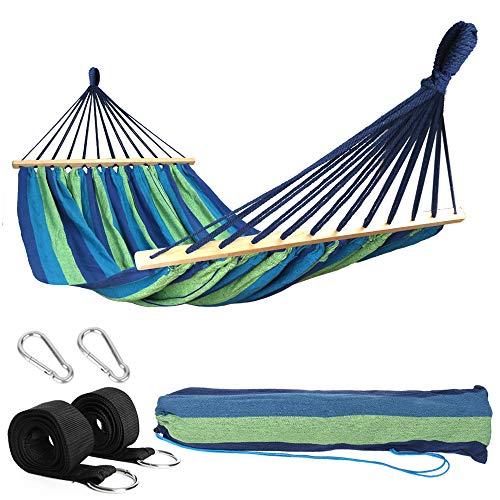 Anyoo Hängematte aus Baumwolle mit Stab Tragbar Kompakt Gestreift Single Outdoor Garten Patio Hängematte Belastbarkeit bis 200 kg