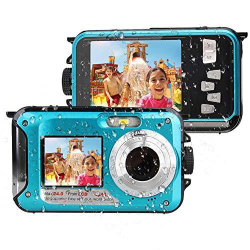 Unterwasserkamera Full HD 1080P Digitalkamera Wasserdicht 24 MP Unterwasser Digitalkamera Selfie Dual Screen DV-Aufnahme wasserdichte Digitalkamera zum Schnorcheln
