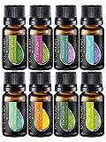 Ätherische Öle Set (8x10ml) - Essential Oil für Aromatherapie - Duftöl für Diffuser - 100% Rein Öle - Lavendel, Pfefferminz, Rosmarin, Orange, Teebaum, Eukalyptus, Zitronengras, Anti-Stress Öl