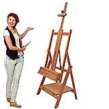 Artina Profi Atelierstaffelei Napoli als Künstler Studio-Staffelei aus massivem Buchen-Holz für Leinwände bis 150 cm Höhe geeignet