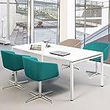 PROFI Besprechungstisch 160x80cm NOVA U 4-6 Pers. Konferenztisch Meetingtisch , Gestellfarbe:Weiß