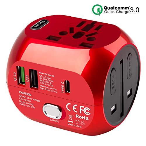 Reiseadapter mit QC3.0 Schnellladung Typ C und 2 USB (US/EU/UK/AU) 30W All-In-One Reiseladegerät für über 150 Länder, 2 Sicherungen (Rot)