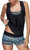 Leslady Damen Separable Badeanzüge Tankini mit 3-Teilig Sporty Neckholder Plus Größe Zwei Stück Badeanzug Mesh Schwimmen Kostüm