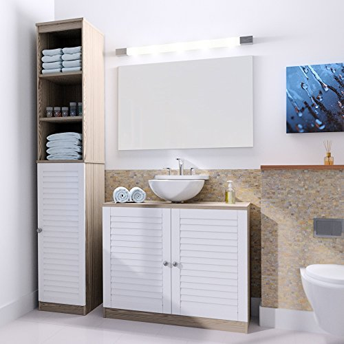 Deuba Badmöbel Set | Braun Weiß | Waschbeckenunterschrank Badezimmerhochschrank Unterschrank Hochschrank