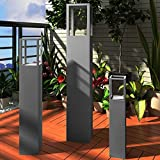 vidaXL Windlicht Säulen Set 3 tlg antik grau Lackierung Dekosäule Windlichtsäule