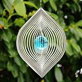 Edelstahl Windspiel 'BLATT' mit 35 mm Türkiser Glaskugelaus echtem Farbglas - Wetterfest-