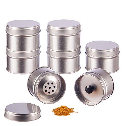 12 kleine Gewürzdosen mit extra Aromadeckel + 2 gratis Streueinsätze, Ø 6,6cm, Höhe 4,6cm, stapelbar, inkl.12 Etiketten
