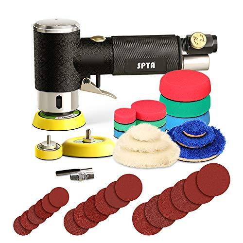 SPTA 25mm 50mm 80mm Exzenterschleifer Druckluft Winkelschleifer Poliermaschine/Polierer mit 23tlg Polierschwämme Polierpad Polierpad Set und Polierfell Polierset Polierteller Kit