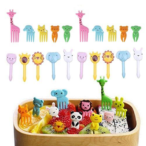 Fellibay Mini-Gabeln und Spießchen für Lebensmittel, Obst, Kuchen, Nachtisch, Sandwiches, Appetithäppchen, Cocktails, Party-Zubehör, Cartoon-Motiv: Tiere, ideal für Kinder, 18 oder 20Stück