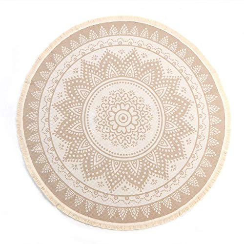 SHACOS Retro Runder Baumwollteppich mit Quasten böhmische Mandala Handwebteppich Abwaschbar rutschfest für Wohnzimmer Schlafzimmerteppich Rund 120cm