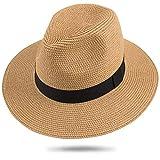 Maylisacc Panama Hut Herren Damen Sommer Fedora Strohhut Rollbar UV Sonnenhut 59-60cm (Khaki FK)