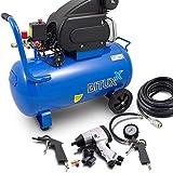 BITUXX Druckluftkompressor 50L Luftdruck Kompressor 50 Liter + 8 teiliges Druckluft Set Reifendruck Ausblaspistolen Radwechselset Schlagschrauber Schlauch 10m Druckluftschrauber 4 Schlagnüsse