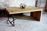 Eiche Couchtisch massiv, gezinkt, sandgestrahlte Oberfläche, korrodierter Stahlfuß, Unikat Maß 110 x 62 x 45 cm Couchtisch, Tisch industriell Design, Loft-Tisch