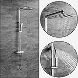 OLEAH Badezimmer Thermostatische Dusche Mischer Duschsystem an der Wand Befestigte Dusche Mischer Satz mit Chrom überzogener obenliegender Duschekopfu & Handdusche Hähnen