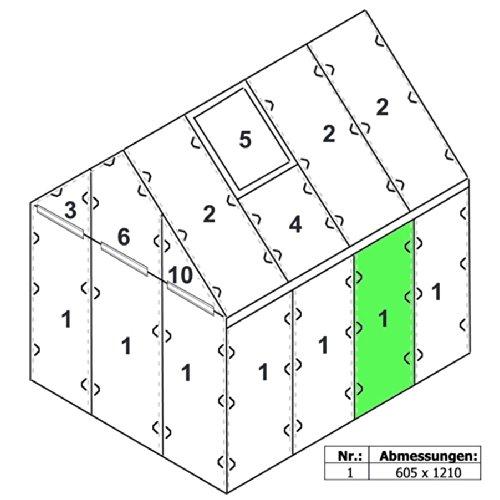 Zelsius - 6 mm Hohlkammerstegplatte '#1' (121 x 60,5 x 0,6 cm) für Gewächshaus, Garten Treibhaus, Polycarbonat Ersatzplatten