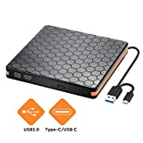 Externes DVD CD Laufwerk, Externes CD DVD Brenner für Brenner mit USB 3.0 und Typ C Schnittstelle, optische Hochgeschwindigkeits Datenübertragung für optische Laufwerke für Win10 / XP/Win 7 / Win 8
