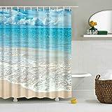 GWELL Blau Seestern Meerjungfrau Anti-Schimmel Duschvorhang inkl. 12 Duschvorhangringe für Badezimmer Art-D 180x200cm