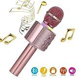 Karaoke-Mikrofon, Bluetooth, kabellos, Karaoke-Mikrofon für kinder, paarbar für Duetten mit bunten Lichtern, Geschenk für 5 Jahre alte Jungen