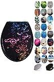 Grafner MDF WC Sitz mit Absenkautomatik viele schöne Motive zur Auswahl - stabile Qualität - einfache Monatge WC Deckel Klobrille Softcolse (Colored Bubbles)