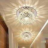 5W LED Deckenleuchte Modern Unterputz Einbauleuchte Beleuchtung Decken und Wandleuchte Spots Kristall Runde Effekt Lampe für Flur, Vorraum Ø 12CM , warmweißes