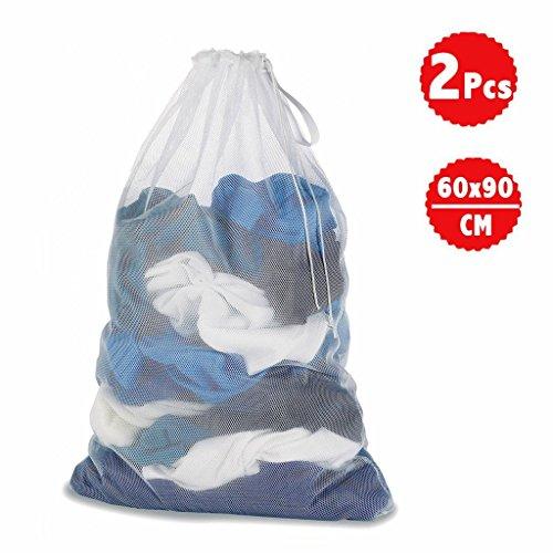 DoGeek Wäschenetz Für Waschmaschine Wäschesack Wäschebeutel für Oberbekleidung, Dessous, Socken, Strumpfhosen, Strümpfe und Baby Kleidung (Größe: 60 x 90 cm für 5 kg Wäsche 2 Stück)