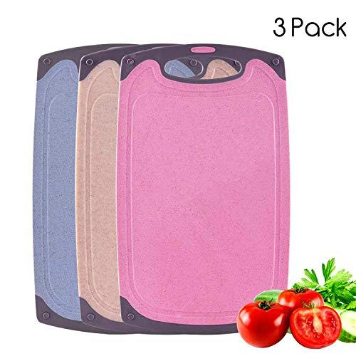 BOCHION Schneidbrett 3er Set, Kunststoff Küche Schneidbretter BPA frei, mit Saftrillen, Spülmaschinenfest, Antibakteriell und rutschfest, 3 Stück (Beige, Pink, Blau)