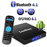 Android 8.1 TV Box - Leelbox Smart TV Box Q4 MAX 4 GB RAM/64 GB ROM, Quad Core 64 Bit Android Box Wi-Fi integrato/BT 4.1/ Box TV UHD 4K TV/USB 3.0 Media Player, Android Set-top-Box
