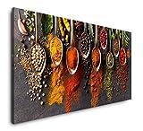 Paul Sinus Art Gewürze in Löffeln 120x 60cm Panorama Leinwand Bild XXL Format Wandbilder Wohnzimmer Wohnung Deko Kunstdrucke