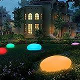 RGB Solar Gartenleuchten LED Solarleuchten Solarlampe mit einem längsten Innendurchmesser von 33 cm, 16 verstellbarer Farben, Wasserdicht IP54 Solarlampe Kieselstein Form für Garten, Hof