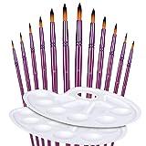 Yosemy 12 Stück Künstlerpinsel, 2 Mischpalette, Premium Nylon Pinsel für Aquarell, Schrägpinsel Feine Pinsel für Acryl Aquarell Ölmalerei, Lila