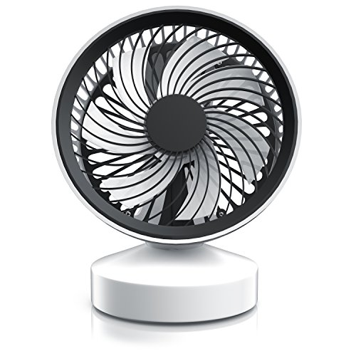 CSL - Tischventilator Ventilator mit Standfuß | Leises Betriebsgeräusch - nur max. 45dB | Ein/Aus-Schalter | Energie-sparend (nur 3,5W) | Ca. 25° neigbar einstellbarer Winkel | schwarz weiß