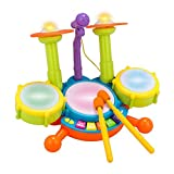 Rabing Kinder Schlagzeug Set Beats Flash Light Toy Verstellbares Mikrofon Mehrfarbig