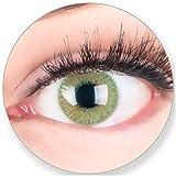 Glamlens Kontaktlinsen farbig grün ohne Stärke - mit Kontaktlinsenbehälter. Sehr stark deckende natürliche grüne farbige Monatslinsen Smaragdgrün 1 Paar weich Silikon Hydrogel