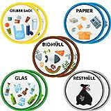 trashnice Mülltonnenaufkleber (10) Mülltrennung Aufkleber Set für Ihre Mülltonne und Ihren Abfalleimer-Aufkleber 95mm,Gelber Sack, Biomüll, Papier, Glas und Restmüll. Mülltonnen-Aufkleber Design 1