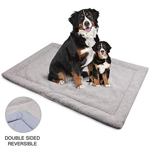 Allisandro Hundematte waschbare Hundedecke hygienische Rutschfeste und weiche Decke 80 x 60 cm 100 x 70 cm mit kuscheligem Micro Plüsch Oberfläche Leinwand Zurück Duplex-Einsatz Grau