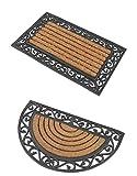 2 Premium Fußmatten (1 halbrund, 1 rechteckig) aus Gummi und Kokosfasern, 76 x 46 cm |  3 kg Fußabtreter verhindert verrutschen  Robuste & repräsentative Schmutzfangmatten, Sauberlaufmatten, Schmutzmatten  Fußabstreifer für Eingangsbereich von Haus und Wohnung