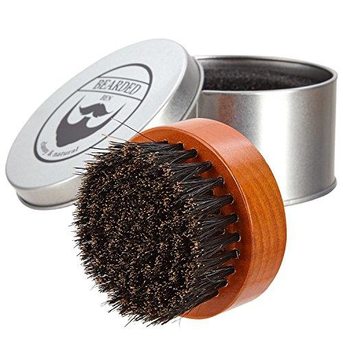 BEARDED BEN Bartbürste mit Wildschweinborsten und hochwertiger Aufbewahrungsbox für professionelle Bartpflege   teakbraun, Durchmesser: 6,3 cm   mit 2 Jahren Zufriedenheitsgarantie