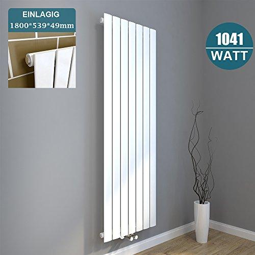 Design Flach Heizkörper 1800x539mm Weiß Paneelheizkörper Vertikal Mittelanschluss Einlagig