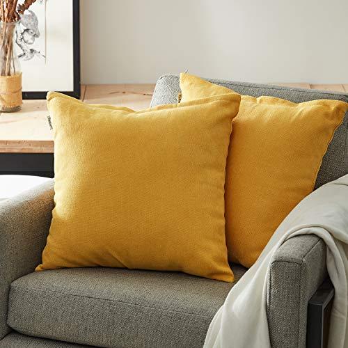 Topfinel Kissenbezüge Einfarbig Chenille Dekokissenhülle mit Verstecktem Reißverschluss für Sofa Auto Bett 2er Set 40cmX40cm Gelb